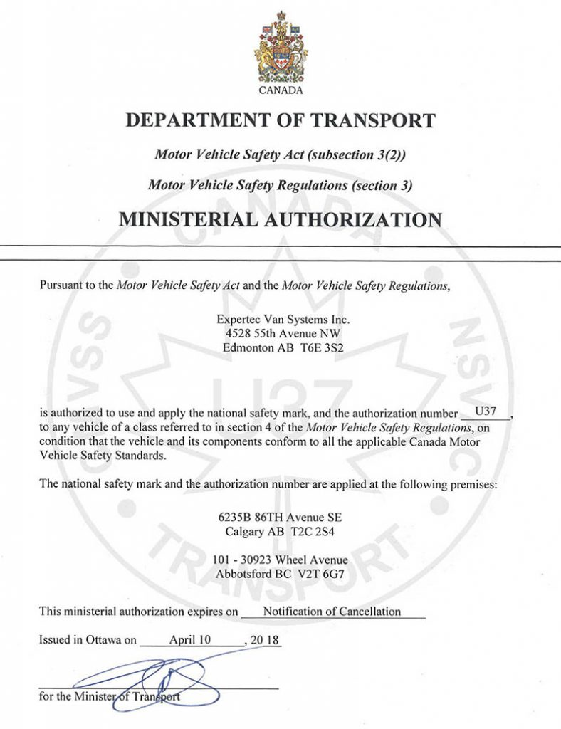 Expertec National Safety Mark - Canada Department of Transport