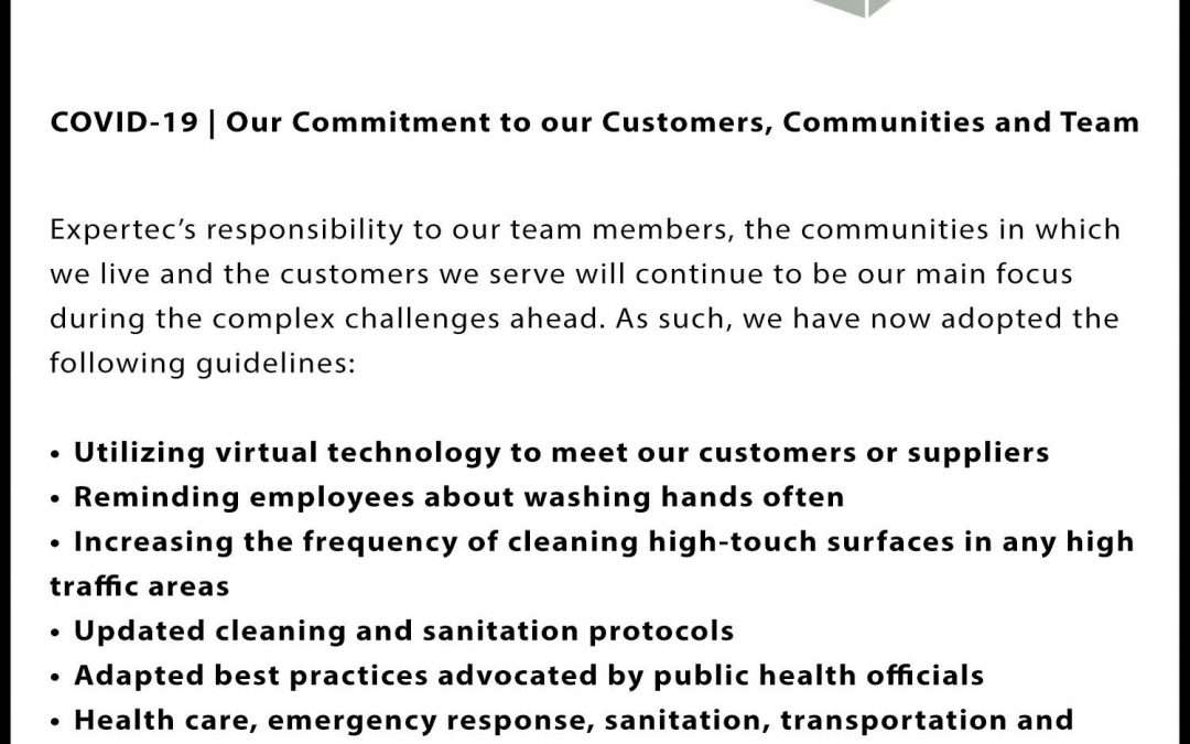 COVID-19 | Expertec's Commitment to Our Customers, Communities and Team